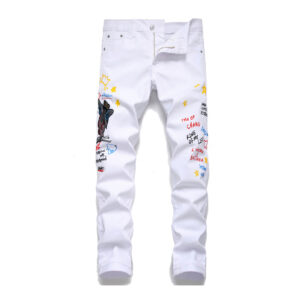 Fashion Letter Embroidery Straight Leg White Jeans