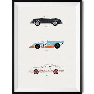 Porsche Car Print WBoarder Frame 1 – Rear View Prints
