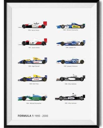 F1 90s Winners - Rear View Prints
