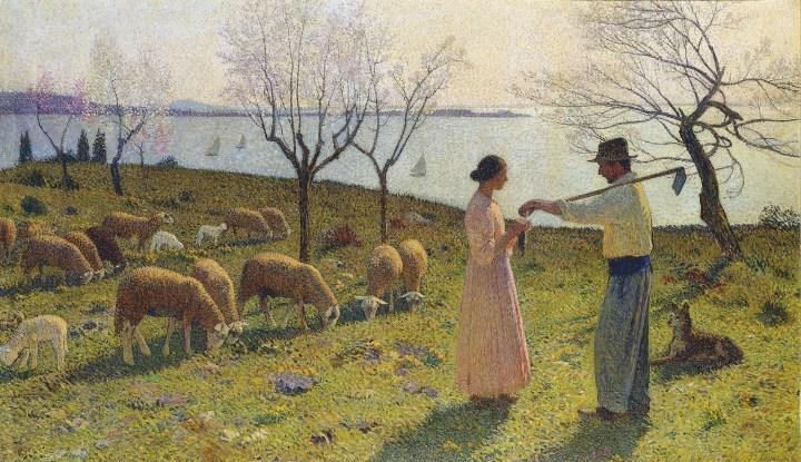21182-Henri martin Idylle sheep shepherd john 10