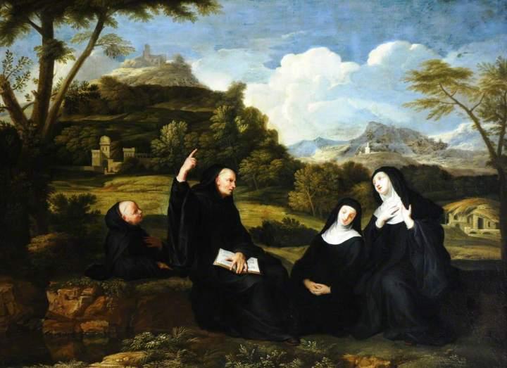 de Champaigne, Jean Baptiste, 1631-1681; Saint Benedict and Saint Scholastica and Two Companions in a Landscape
