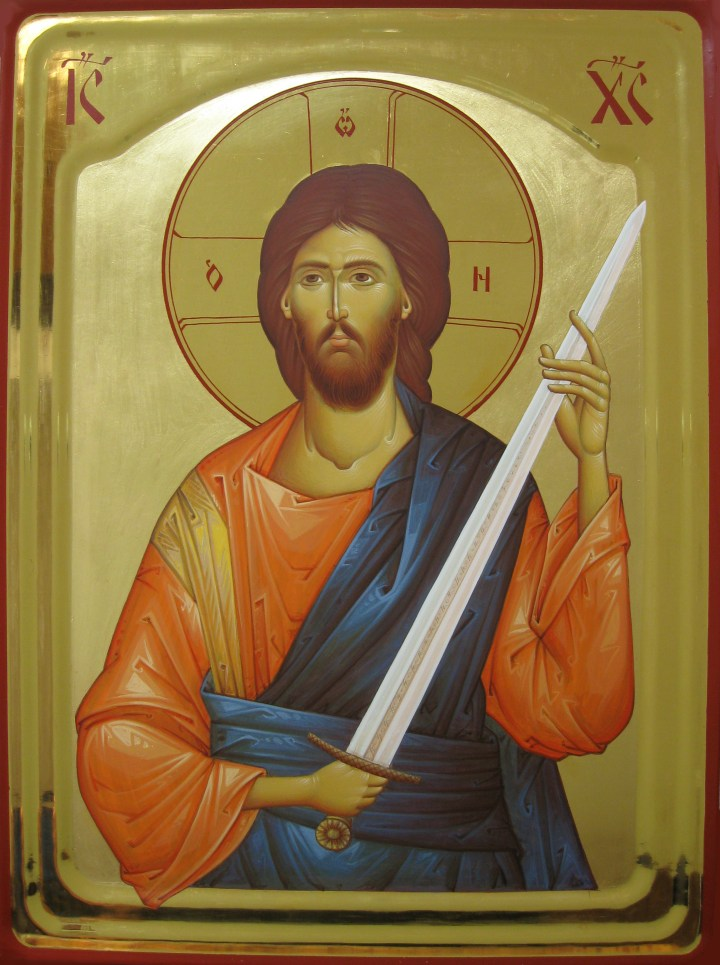 Jesus Christ with a sword - painted icon