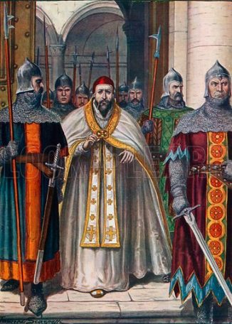 Pope Martin I forced to leave Rome by order of Emperor Constans