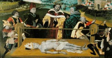 The martyrdom of Saint Elmo, by an unknown painter from the Netherlands, 1474