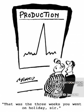 """Production - """"That was the three weeks you went on holiday, sir."""""""