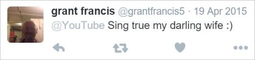 GFrancis 29 sing true my darling wife tweet YT