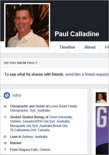 Calladine 1 profile chiro business Lyons Road Chiropractic
