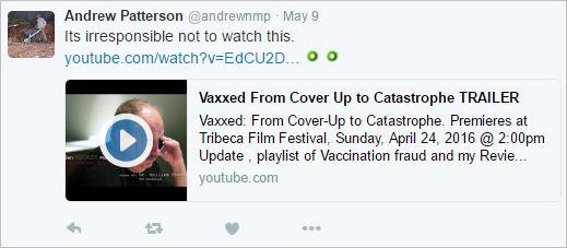 HAP 2 Vaxxed tweet