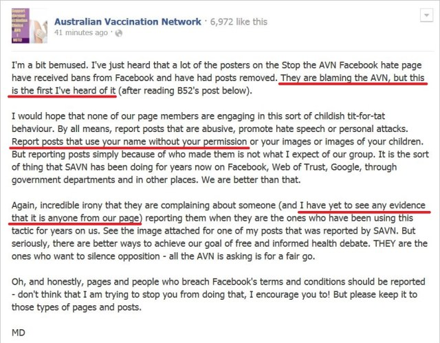 AVN 6697 Dorey not aware of reports tells them to report use of their name