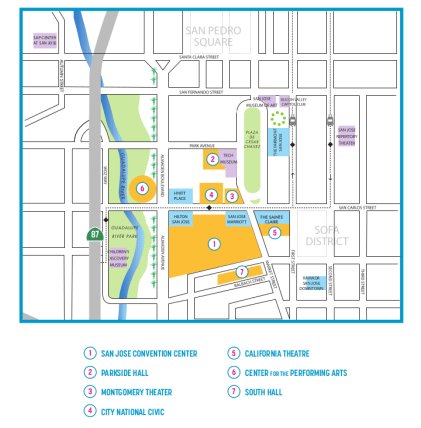 The area of San Jose directly surrounding the San Jose Convention Center.  Click to download Facilities PDF