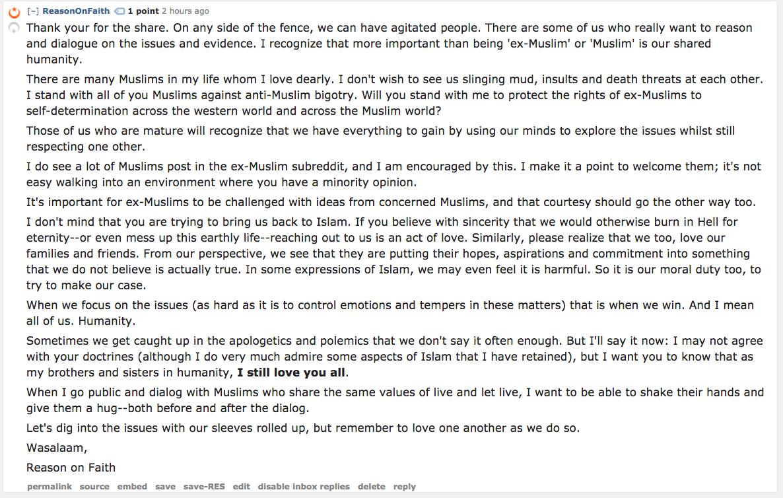 The r islam subreddit on bringing ex Muslims back to Islam Reason on Faith islam