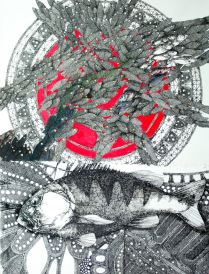 Blue Fish on a Red Doily indian ink and watercolour on arches 80 x 60 cm $1750 framed