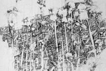 Shrike's Larder pencil on silked board 110 cm x 80 cm $3250 framed