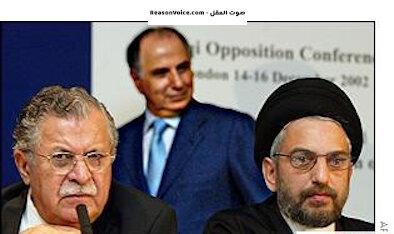 احمد الجلبي و عبد العزيز الحكيم وجلال طالباني في احدى مؤتمرات المعارضة قبل 2003