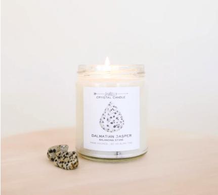 Shop ReAwaken   Dalmatian Jasper Crystal Candle - Balance   JaxKelly