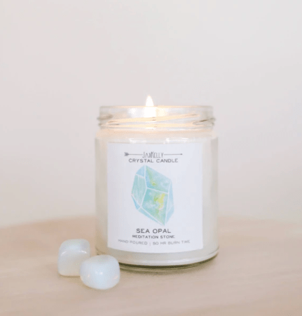Shop ReAwaken   Sea Opal Crystal Candle - Meditation   JaxKelly