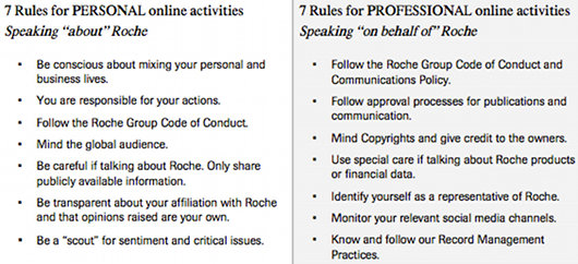 Roche's social media guidelines