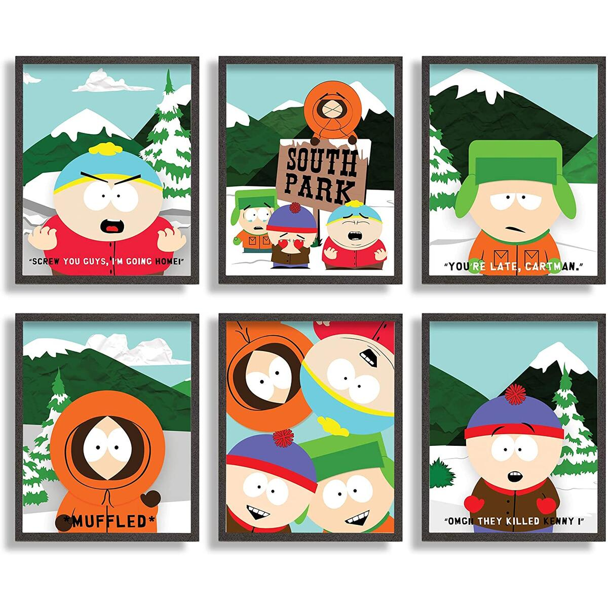 print n art south park poster 8x10 inches unframed set of 6 adult swim south park south park wall art south park wall decor south park picture