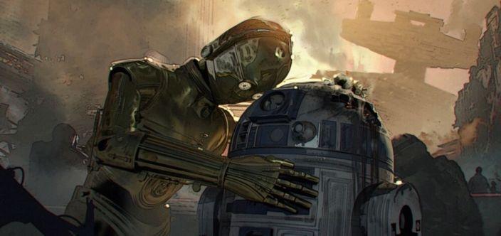 R2 zostaje zniszczony podczas walk na Coruscant. 3PO wyraża emocje, jakich nigdy u niego nie widzieliśmy. Finn nie wie, co powiedzieć, jest zdruzgotany sytuacją. Chewie bierze R2 na plecy.