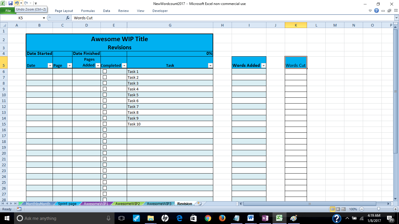 Revision Page, Word Count Tracker