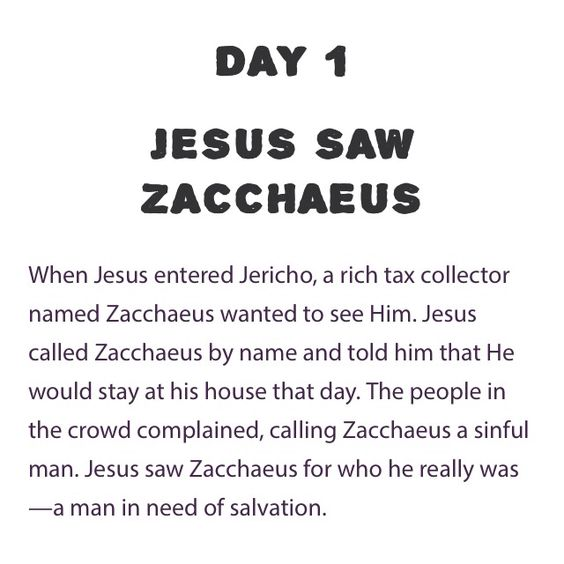 Day 1 Bible Study Submerged – Zacchaeus