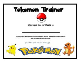 Pokemon Trainer certificate template