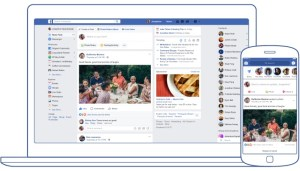 Facebook Newsfeed on a desktop and on mobile