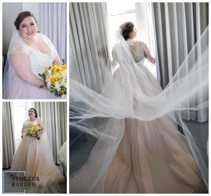 blush gown real wedding philadelphia loews modern