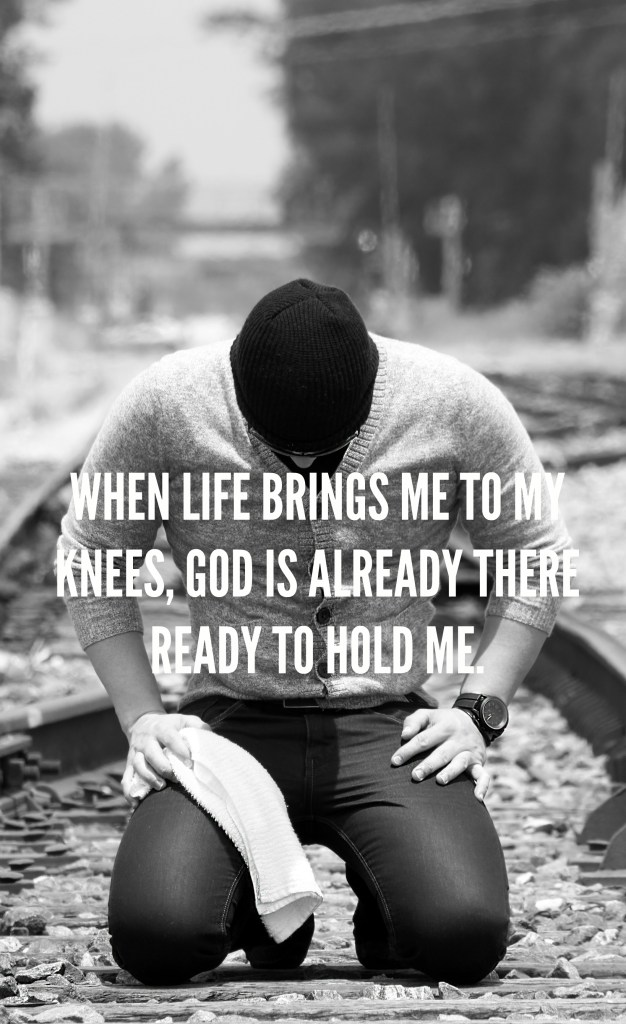 Man kneeling. When life is overwhelming, God is there.