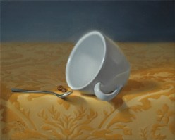 "Rebecca C Gray Coffee Cup on Yellow Fabric, 8""x10"", Oil on Canvas, 2011"