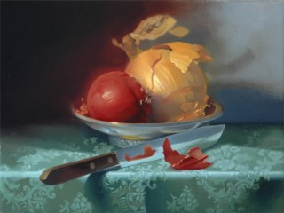Rebecca C Gray, Red & Gold Onion on Green, 2011