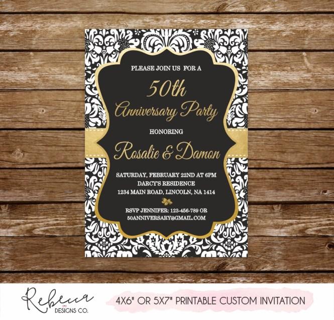 50 Wedding Anniversary Invitation Gold