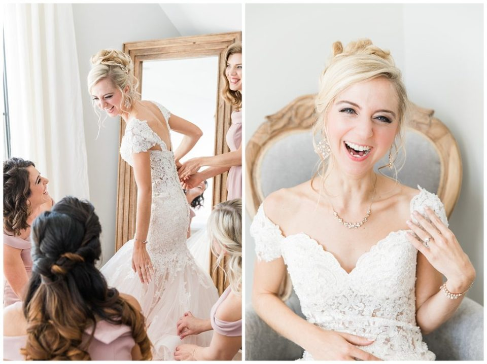 Bride and bridesmaid laughing. Getting ready. Wedding day.