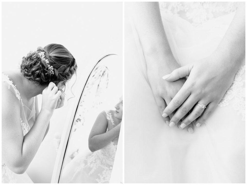 Black and white bridal portrait. Engagement ring. Wedding earrings.