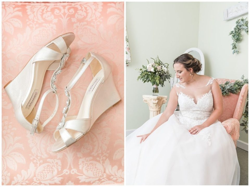 Bride shoes. Classic bride. Getting ready. Bowling Green Country Club.