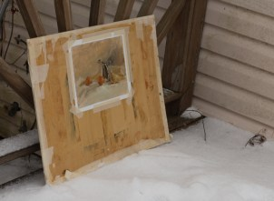 This is the elaborate way I photograph my paintings...in the snow. We spare no expense around here.