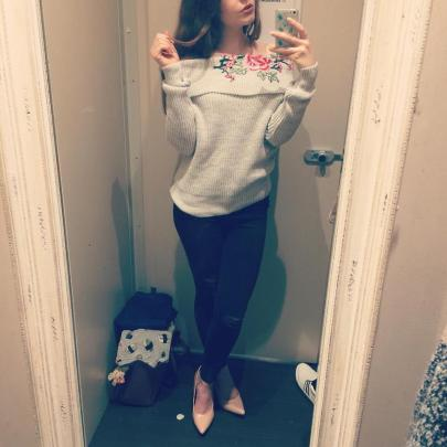 Pale Grey Floral Embroidered Bardot Neck Jumper - £27.99 - http://www.newlook.com/shop/womens/knitwear/pale-grey-floral-embroidered-bardot-neck-jumper-_520525802?productFind=search