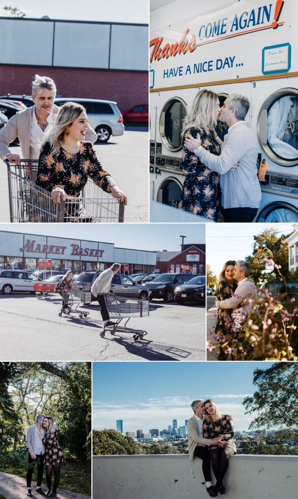 A collage of engagement photos taken by Rebecca Gatto