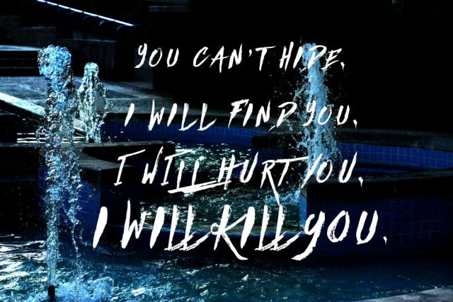 "Image of a fountain with a caption from the short story, MODERN RUINS: ""You cant hide. I will find you. I will hurt you. I will kill you."""