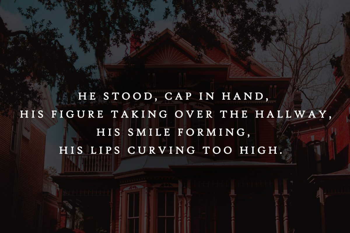 """Preview graphic for """"THE RED HOUSE"""" by Rebecca Jones-Howe with the quote: """"He stood, cap in hand, his figure taking over the hallway, his smile forming, his lips curving too high."""""""