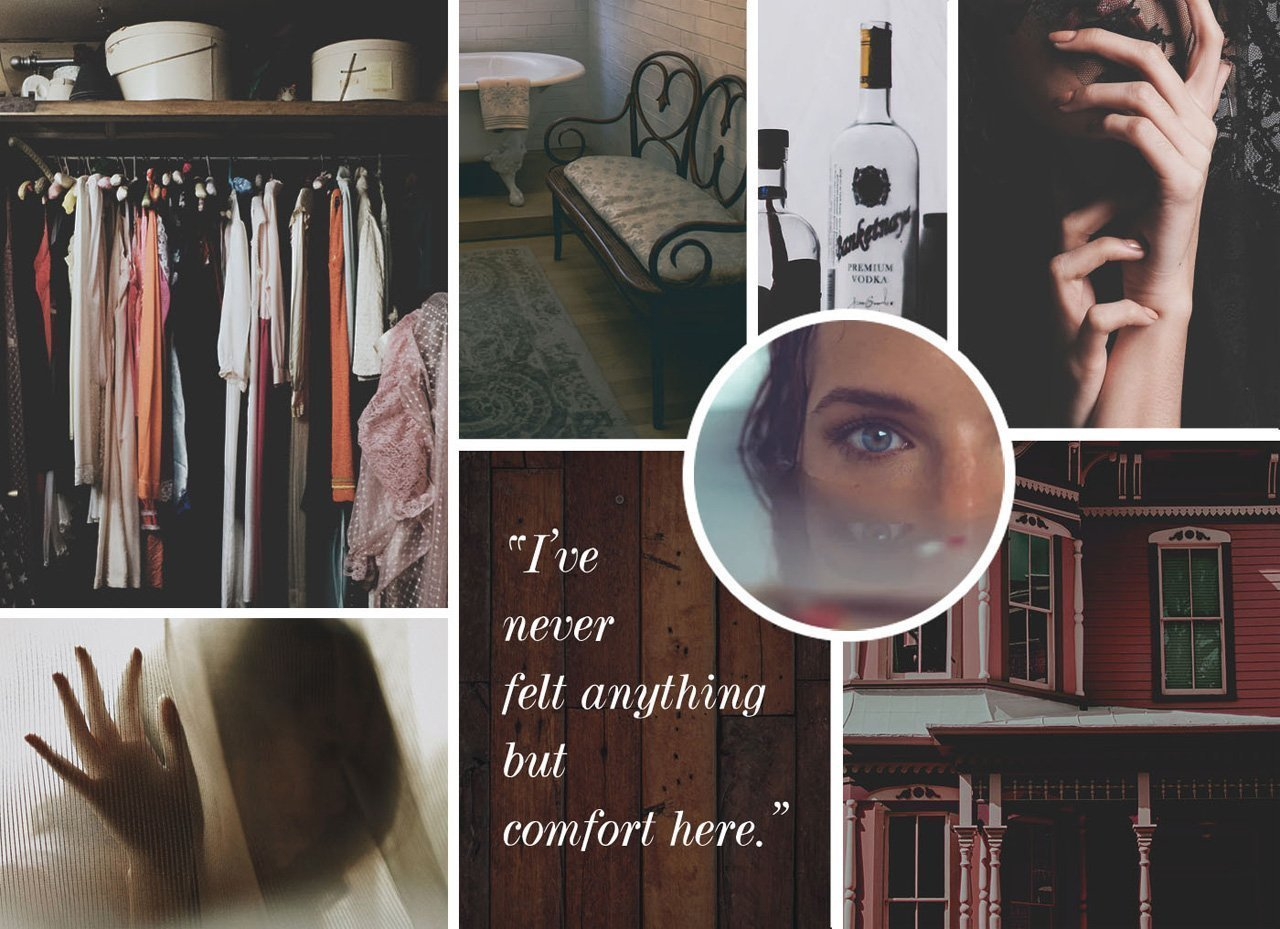 "Moodboard image for the short story, ""The Red House"" by Rebecca Jones-Howe"