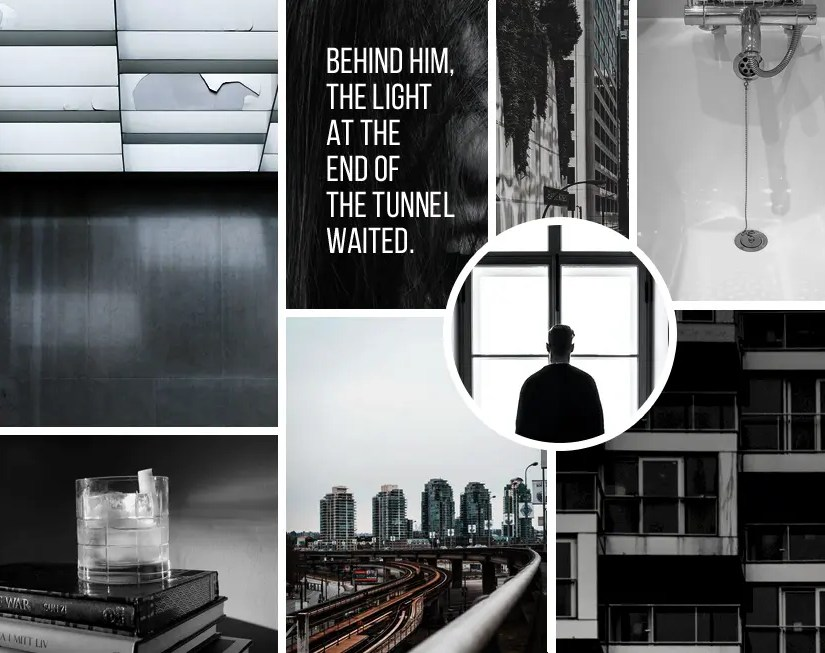"""Moodboard for """"The Tower Made of Glass"""" by Rebecca Jones-Howe"""