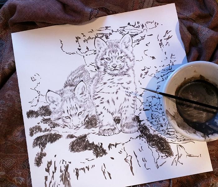 Bobcat Kittens in progress, sepia - 10x10