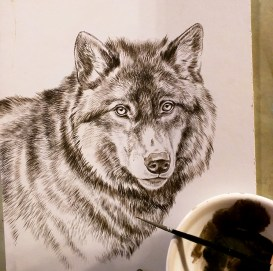New Black Wolf Painting, Sepia Stage, Rebecca Latham