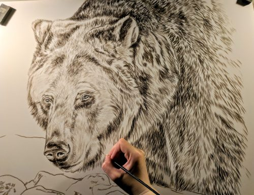 Grizzly Bear (Presently Untitled) in progress, 20x24in, watercolor on board, Currently Available