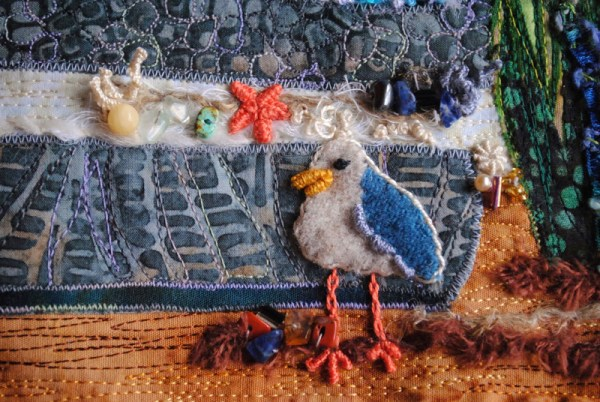 seagull applique quilt wool