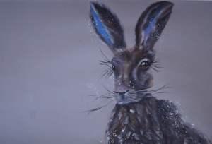 """""""Hazel Hare"""" SOLD A2 acrylic on card"""
