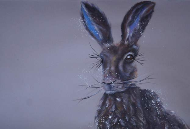 """Hazel Hare"" SOLD A2 acrylic on card"