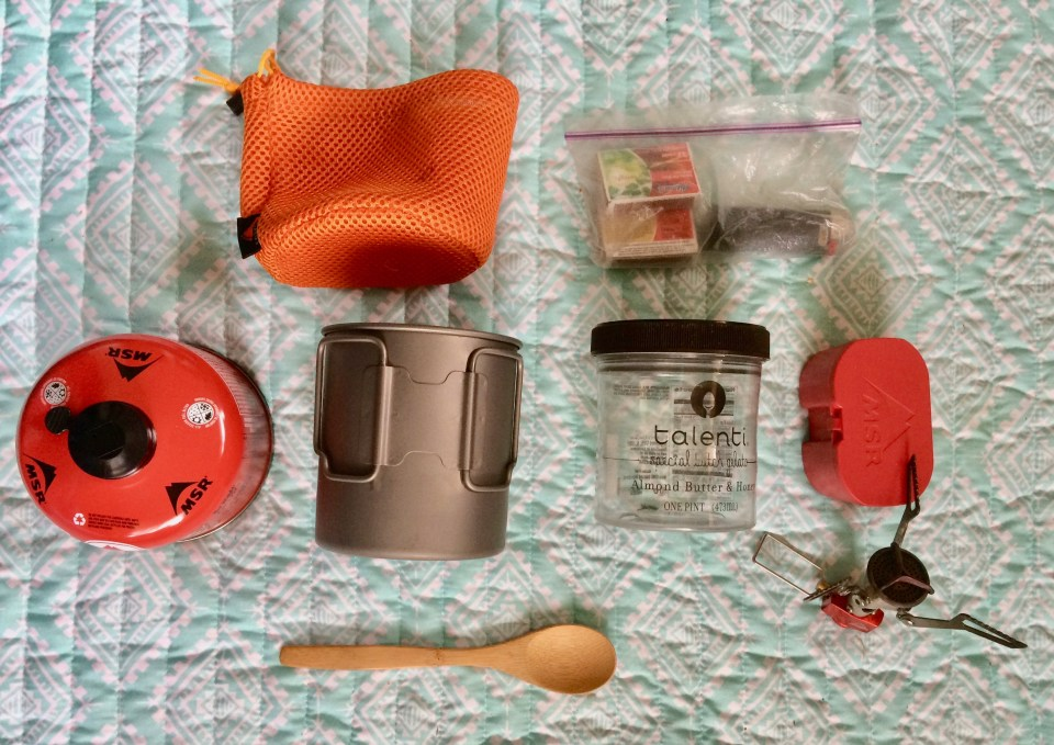 Ultralight stove, cooking pot, spoon, fuel