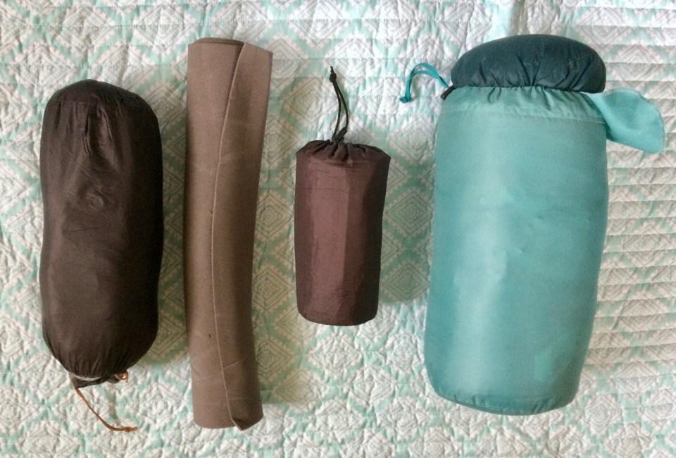 Ultralight tent, sleeping bag, sleeping pad